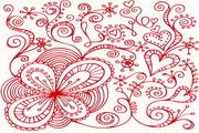 抽象心形花纹矢量图