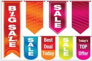 矢量SALE销售条幅与吊牌
