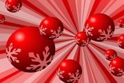 红色雪花圆球矢量素材