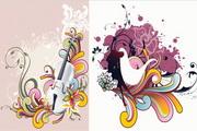 吉他花纹矢量素材