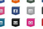 网络公司社交媒体吊旗设计图标