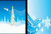蓝色冬季花纹矢量素材