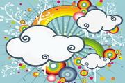 彩虹云朵潮流矢量图