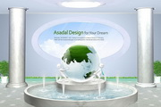 3D小人喷水池PSD素材