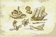 矢量手绘帆船设计