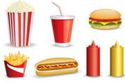 美味快餐食品矢量图