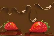 甜蜜草莓巧克力矢量图