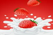 牛奶草莓矢量图