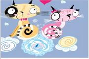 矢量爱主题动物卡片模板