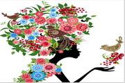 矢量花卉装饰美女设计