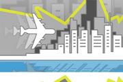 城市飞机PPT模板