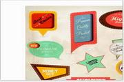 矢量卡通复古标签模板
