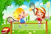 网球运动儿童矢量图