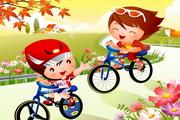 自行车卡通儿童矢量图
