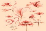 红色抽象花纹素材