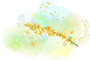 淡彩花卉素材