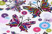蝴蝶花纹壁纸矢量图设计