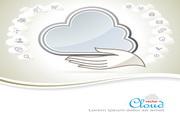 白云主题信息模板矢量设计