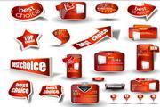 矢量红色网页元素设计