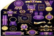 矢量紫色经典标签