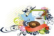 咖啡与潮流花纹素材
