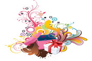礼品与潮流花纹素材