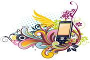 手机与潮流花纹素材