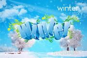 winter广告设计矢量图