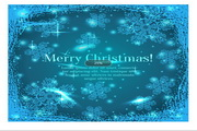 矢量蓝色新年雪花卡片