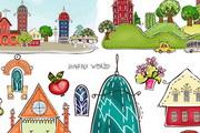 卡通城市建筑背景矢量素材