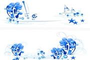 蓝色个性花纹矢量图