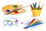 绘画用品工具矢量图