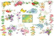 水果花朵蝴蝶花边矢量图