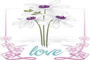 花朵花边love矢量图