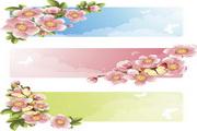 精美蝴蝶与桃花矢量图