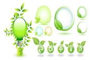 绿色树叶环保图标矢量图