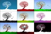 漂亮可爱的树木矢量图