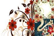 时尚花朵花纹矢量图