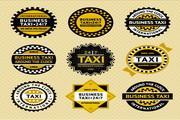 出租车贴纸标签矢量素材