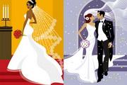 西式婚礼情侣矢量图