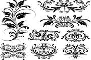 单色花纹矢量样式素材