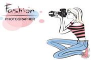 时尚女性摄影师矢量素材