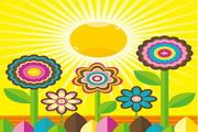 可爱太阳花矢量图