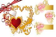 心形花纹与丝带矢量图