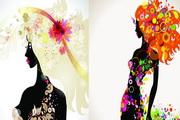 夏季女性装饰构图矢量素材