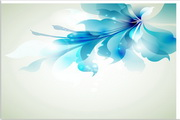 矢量蓝色花朵横幅素材