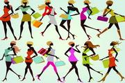 时尚购物女性矢量图