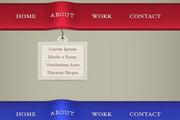红绿蓝色网页导航条设计psd模板