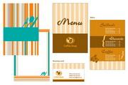 餐饮菜单名片模板矢量图