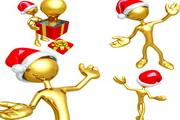 圣诞金色3D小人矢量图